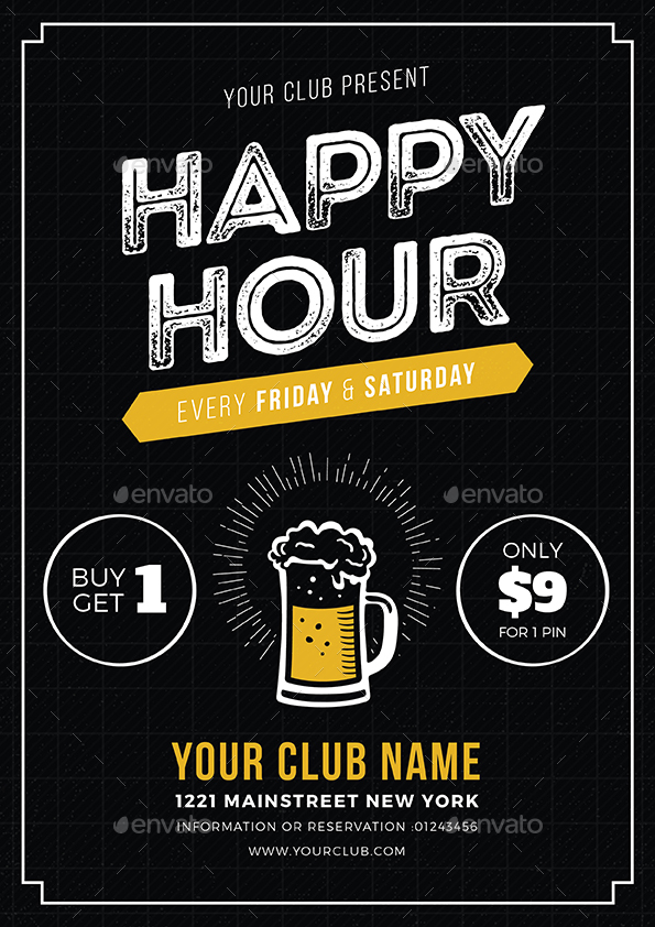 Happy Hour Beer Promotion Flyer / Poster by vynetta GraphicRiver