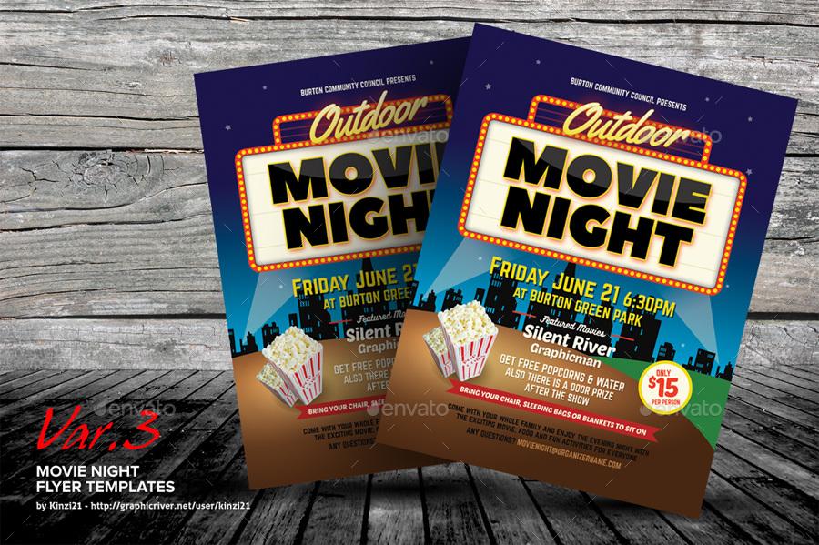 Movie Night Flyer Templates by kinzi21 GraphicRiver