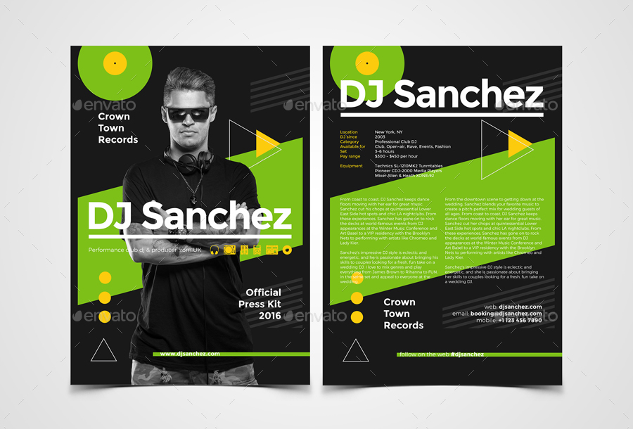 ProDJ - DJ Press Kit / Rider / Resume PSD Template by vinyljunkie