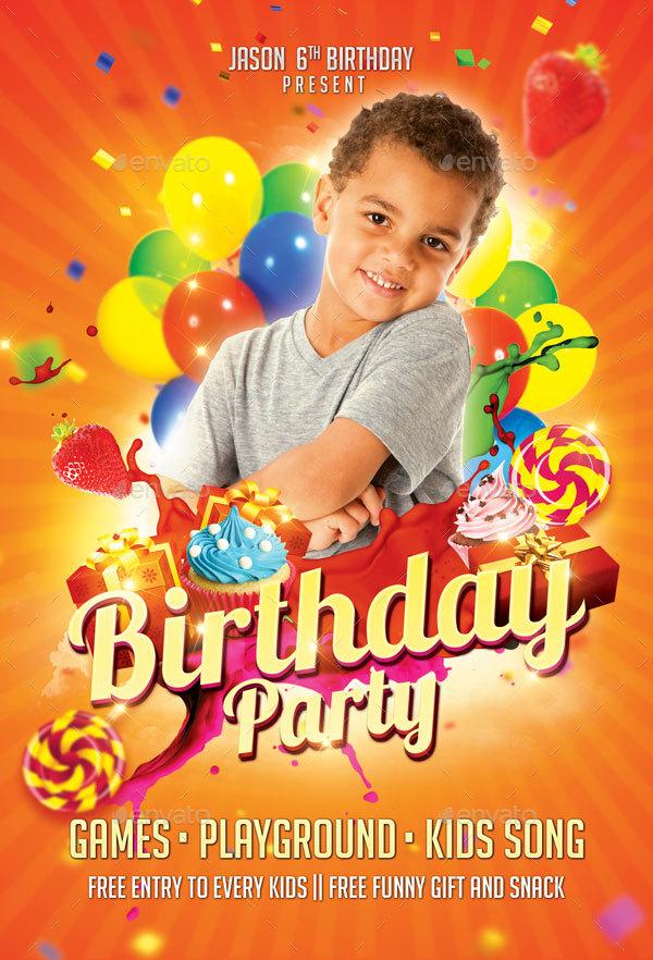 Kids Birthday Party Flyer by EyestetixStudio GraphicRiver
