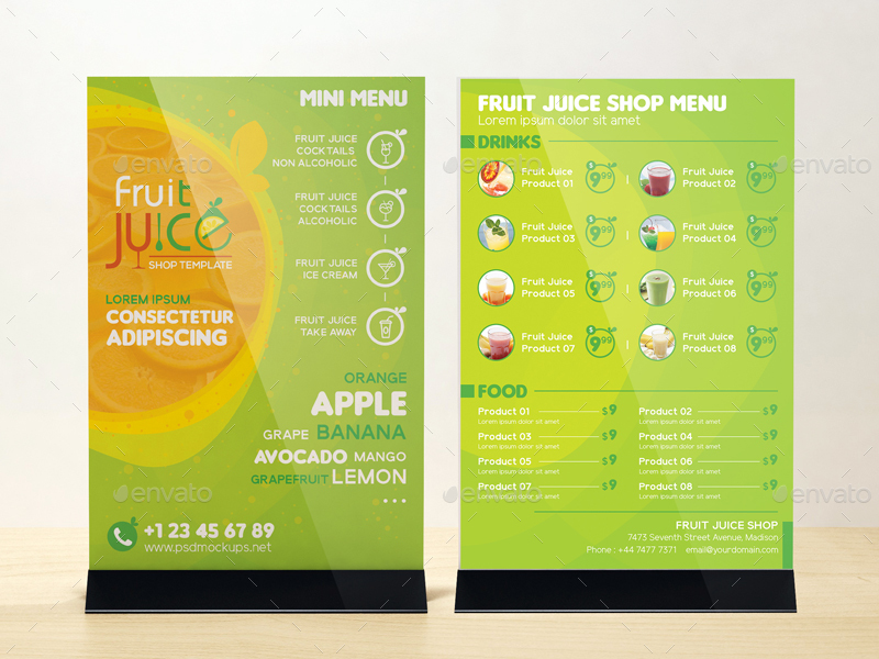 Fruit Juice Shop/ Take-out Brochure and Mini Menu Template by wutip2