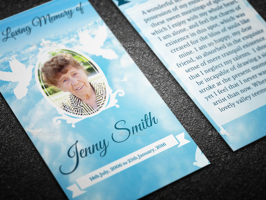 Peace Funeral Prayer Card Template by CreativeSource_online - prayer card template free