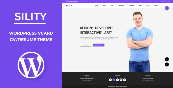 Sility - vCard, CV  Resume WordPress Theme by WPmines ThemeForest - resume wordpress theme