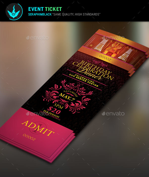 Birthday Celebration Dinner Ticket Template by SeraphimBlack