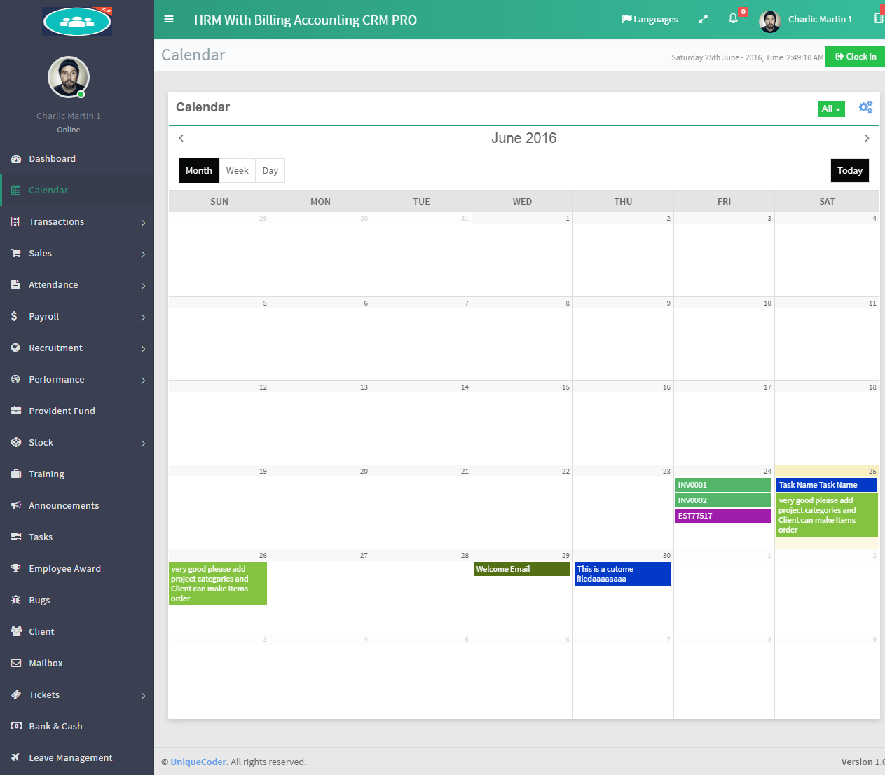 Generate Calendar Zen Zen Master Wikipedia Hrm With Billing And Accounting Software By Uniquecoder