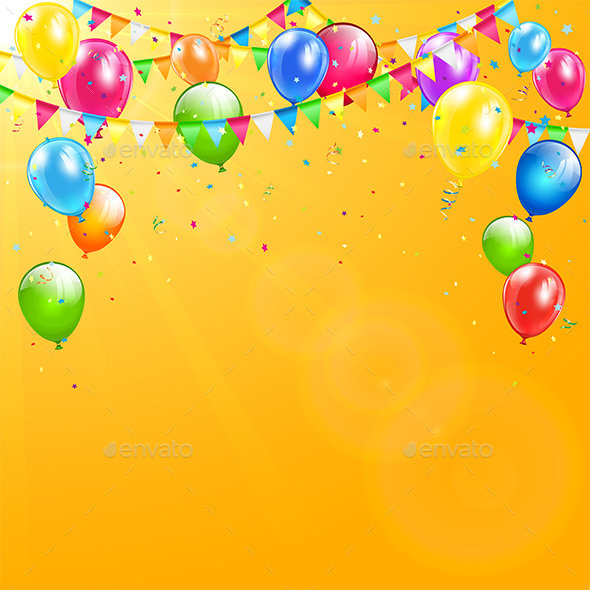 Colorful Birthday Balloons and Pennants on Orange Background by losw - birthday backround