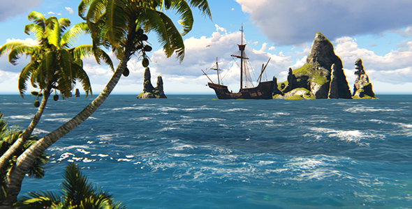Pirate Wallpaper Quote Pirate Ship And A Tropical Island By Animix Videohive