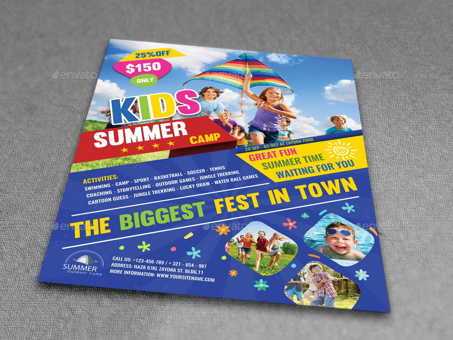 Kids Summer Camp Flyer Template by OWPictures GraphicRiver - Summer Camp Flyer Template