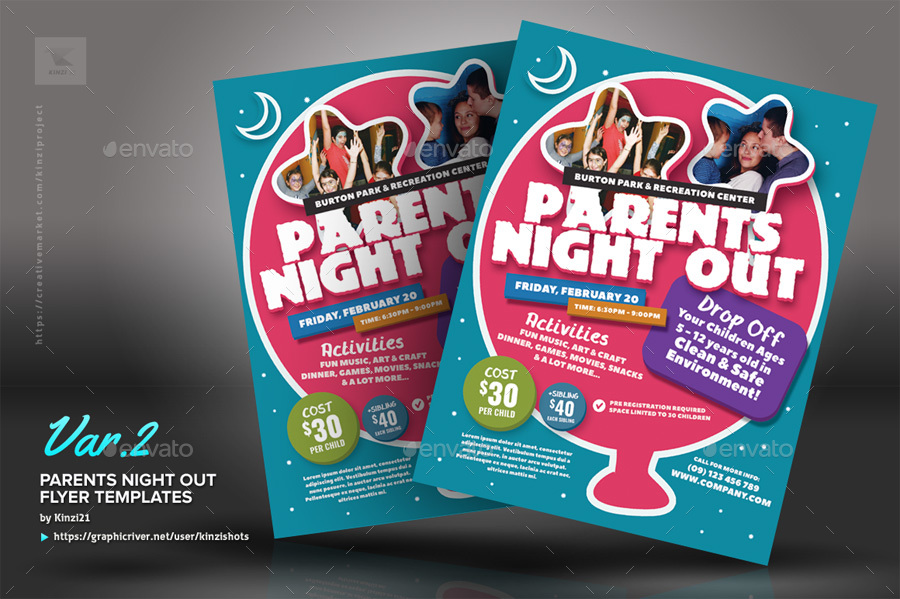 Parents Night Out Flyer Templates by kinzishots GraphicRiver