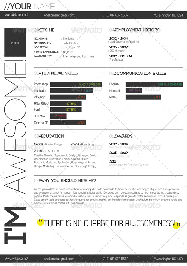 One Page Minimal Resume by kaixer GraphicRiver