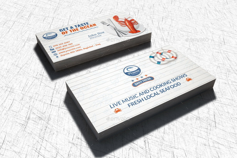 Seafood Restaurant Business Card Template by OWPictures GraphicRiver