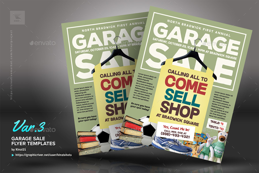 Garage Sale Flyer Templates by kinzishots GraphicRiver - yard sale flyer template