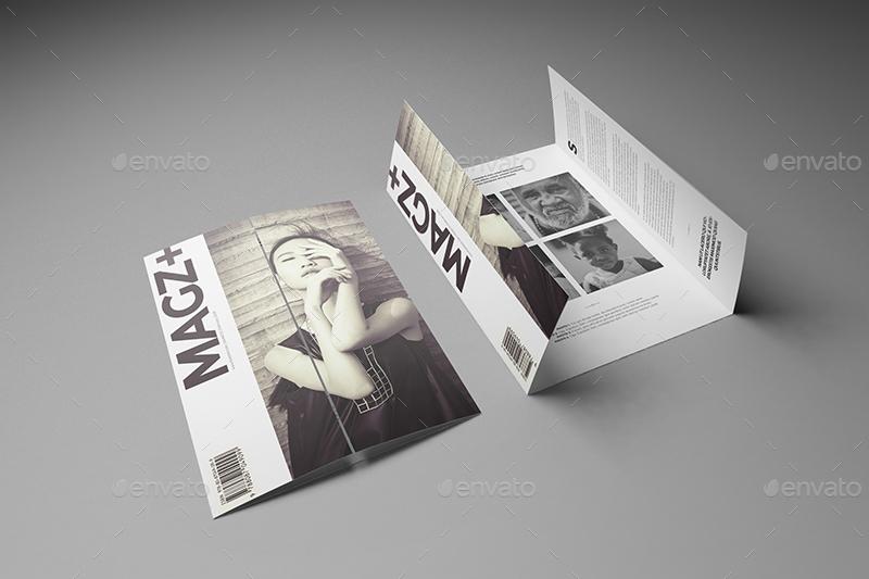 A4\/ A5 Single Gate Fold Brochure Mockups by Wutip GraphicRiver - gate fold brochure mockup