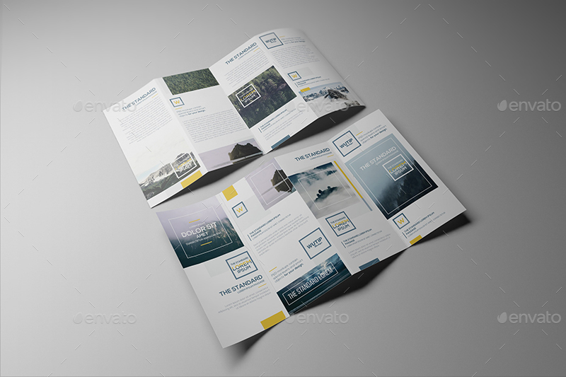 Four Panel Fold Brochure Mockups by Wutip GraphicRiver