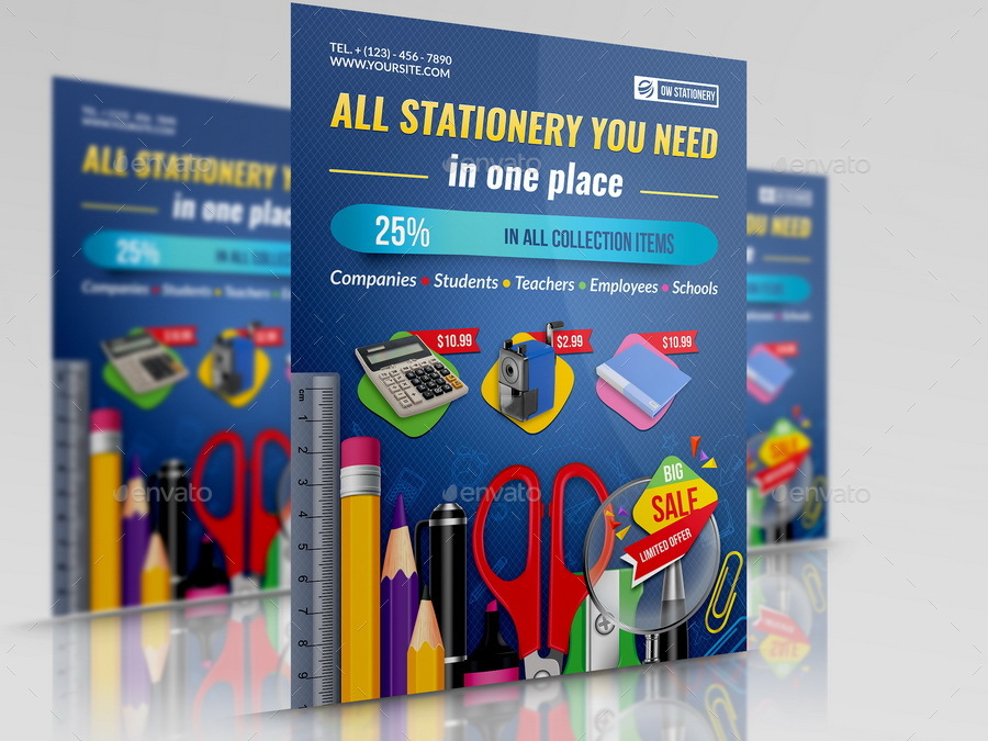 Stationery Products Flyer Template by OWPictures GraphicRiver