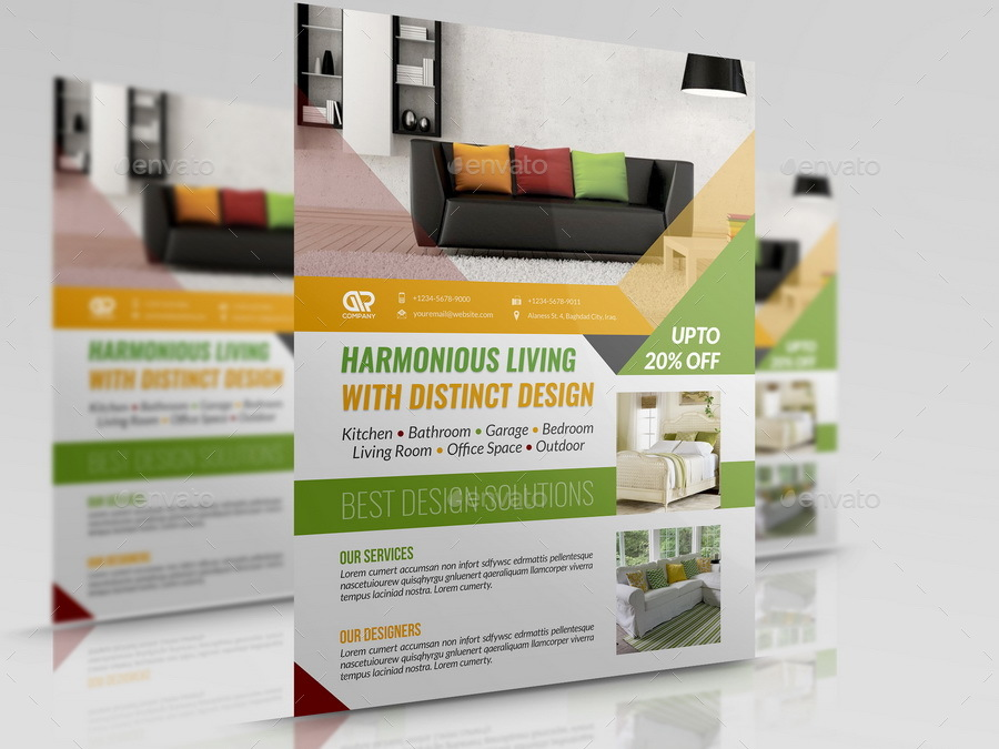 Interior Design Flyer Template by OWPictures GraphicRiver - interior design brochure template