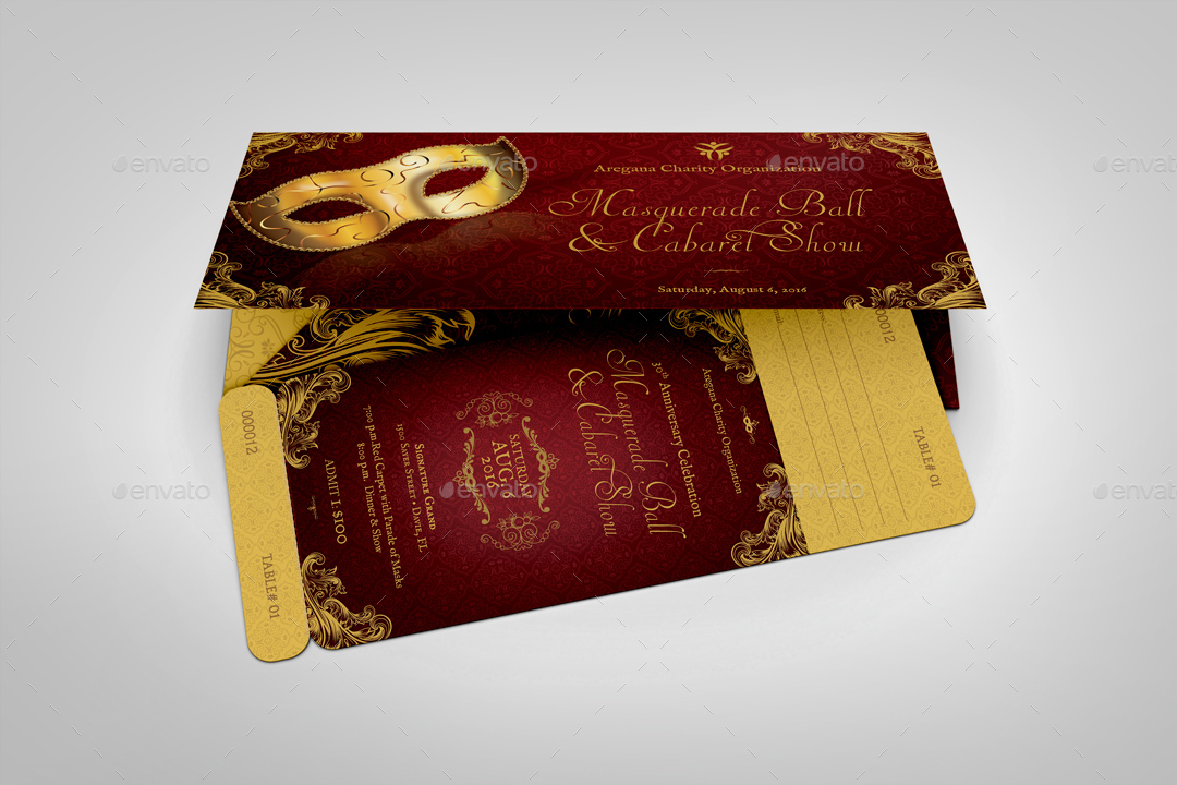 Masquerade Ball Ticket Plus Jacket Template by Godserv GraphicRiver - Ball Ticket Template