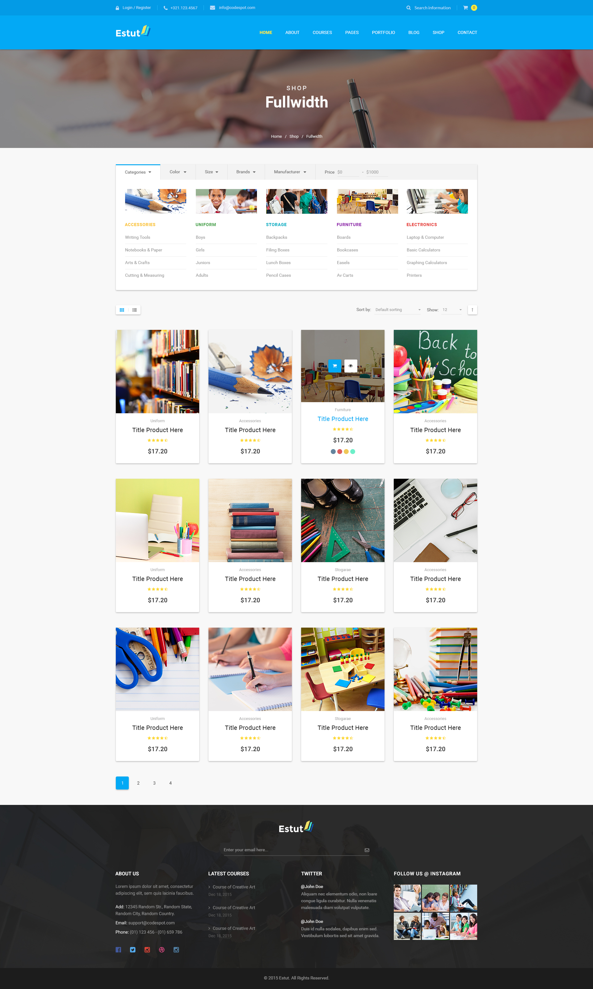 Design Online Shop Estut Education Wordpress Theme Material Design Online Course E Learning Ecommerce