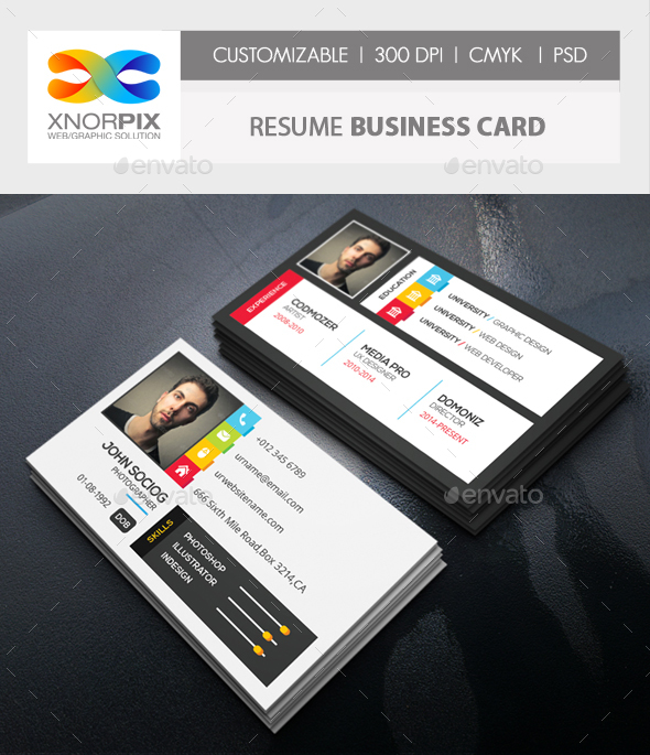 Resume Business Card by -axnorpix GraphicRiver