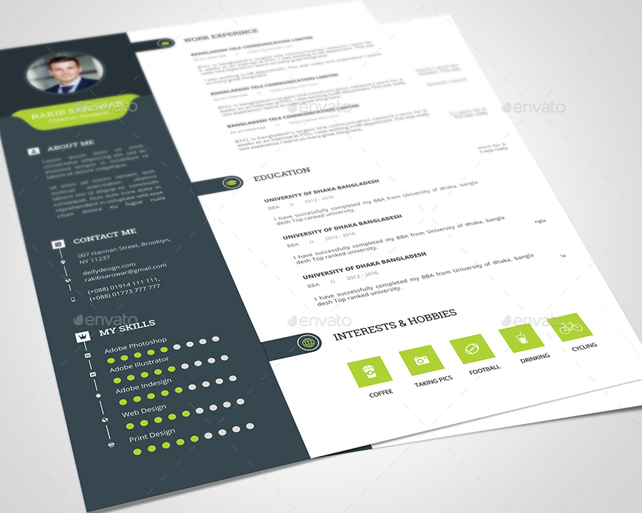 Clean Resume Template 02 by rakibsarowar GraphicRiver - clean resume template