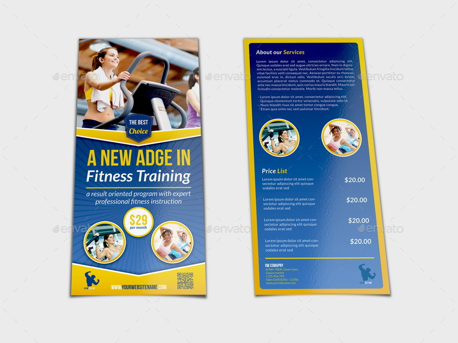 DL Fitness Flyer Template by OWPictures GraphicRiver - Fitness Brochure Template