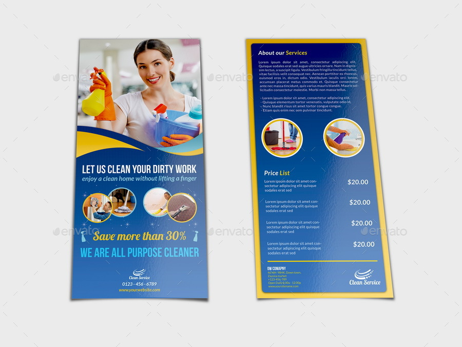 Cleaning Services DL Flyer Template by OWPictures GraphicRiver