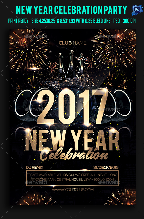New Year Celebration Party Flyer by sparkg GraphicRiver - new years party flyer