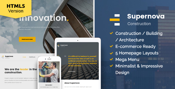 Supernova - Construction website template by kopasoft ThemeForest