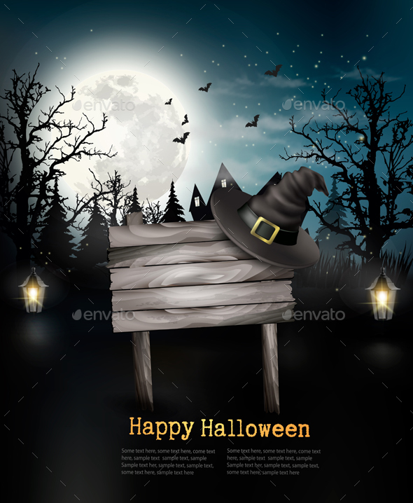 Halloween Spooky Background with Wooden Sign by almoond GraphicRiver