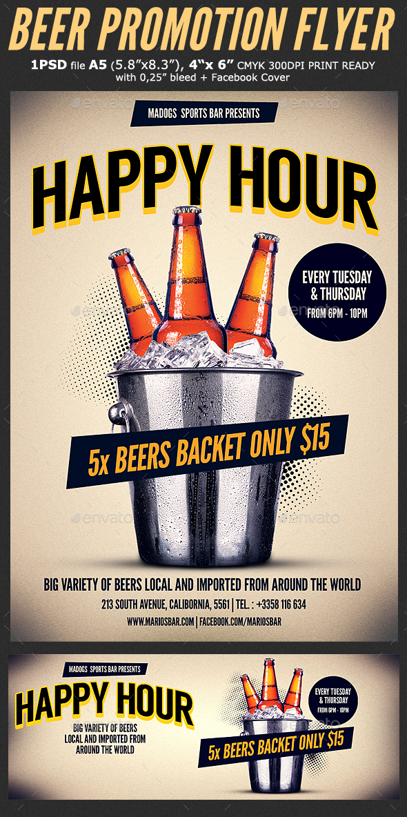 Beer Promotion Happy Hour Flyer Template 3 by Hotpin GraphicRiver - promotion flyer