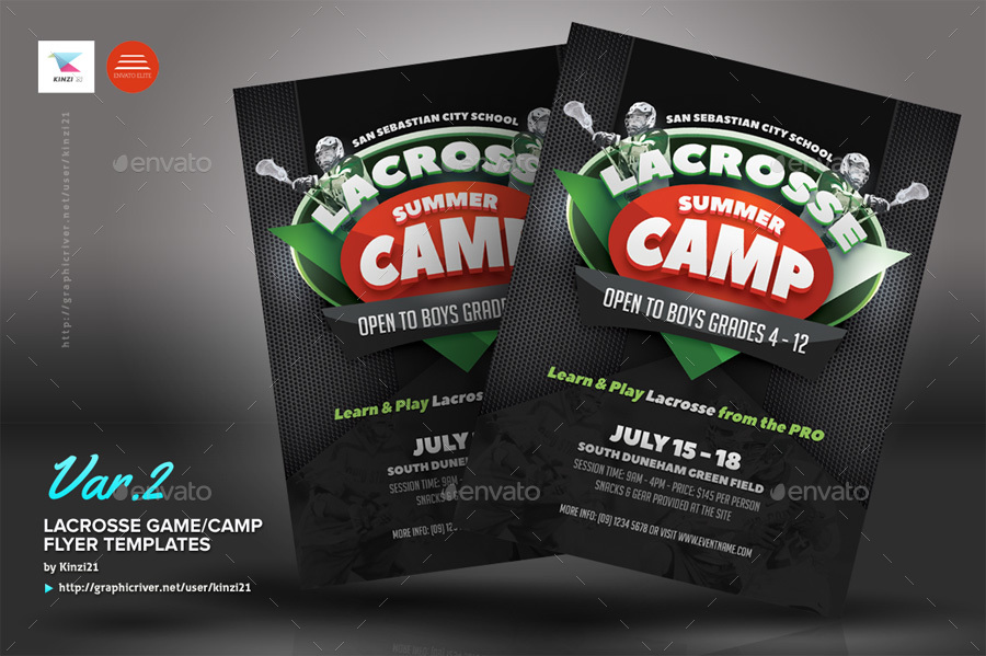 Lacrosse Game or Camp Flyer Templates by kinzi21 GraphicRiver