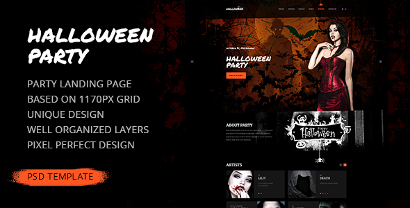 Halloween Party \u2014 Party Landing Page PSD Template by torbara - halloween website template
