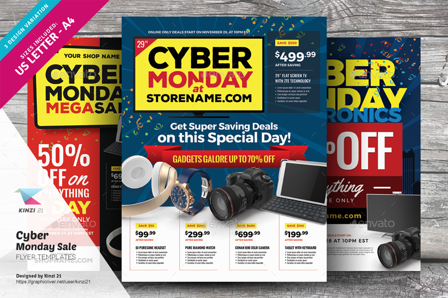 Cyber Monday Sale Flyer Templates by kinzi21 GraphicRiver - discount flyer template