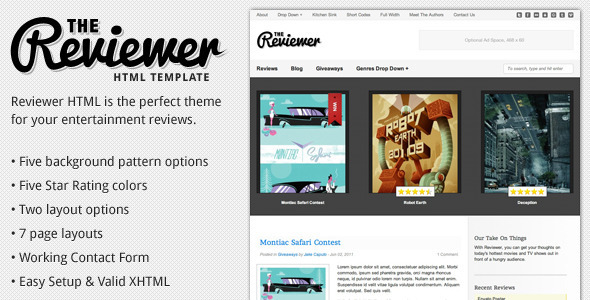 Reviewer - HTML Template for Entertainment Reviews by designcrumbs - product review template