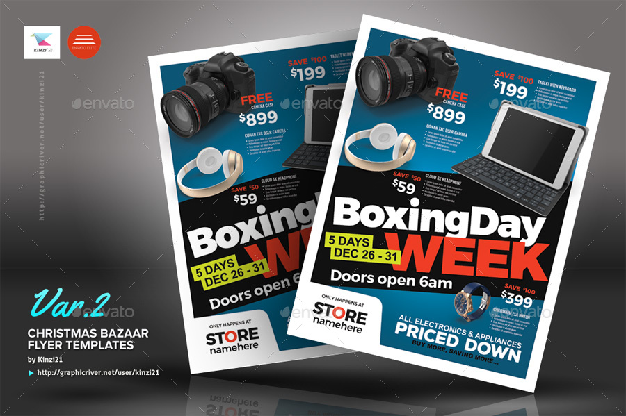 Boxing Day Sale Flyer Templates by kinzi21 GraphicRiver