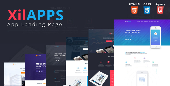 XILAPPS - HTML App Landing Page Template by Kitket ThemeForest - app landing page template
