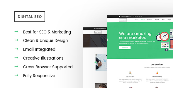 Digital SEO - Responsive SEO and Marketing Template by crazycafe