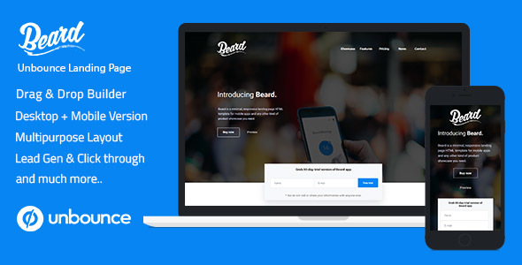Unbounce Responsive Landing Page Template - Beard by ILMThemes
