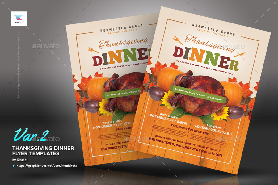 Thanksgiving Dinner Flyer Templates by kinzishots GraphicRiver