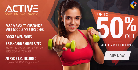 Active - Sport HTML5 Ad Template by WiselyThemes CodeCanyon