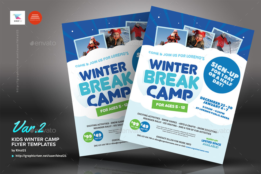 Kids Winter Camp Flyer Templates by kinzi21 GraphicRiver - camp flyer template