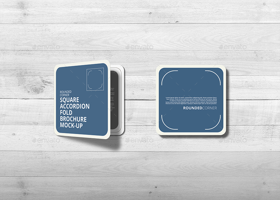 Square Accordion Fold Brochure Mock-Up - Rounded Corner by Trgyon - accordion fold brochure