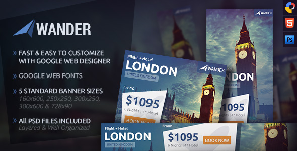 Wander - Travel HTML5 Ad Template by WiselyThemes CodeCanyon