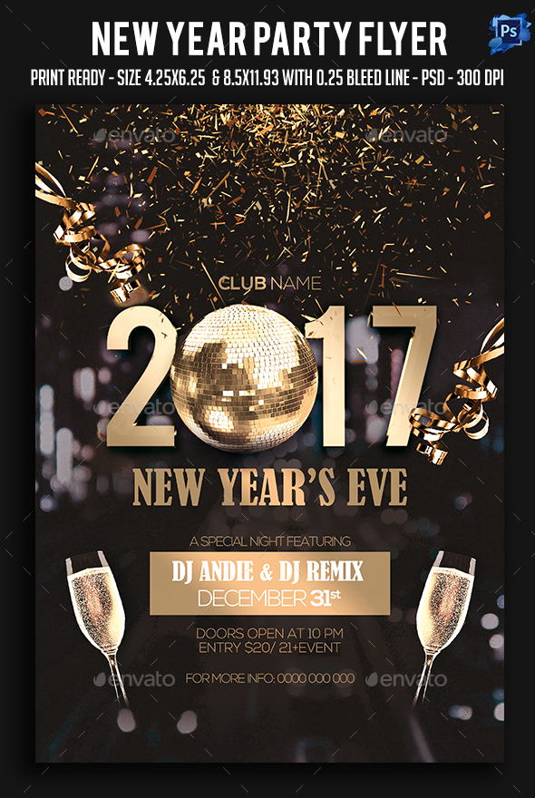 New Year Party Flyer by sparkg GraphicRiver - new years party flyer
