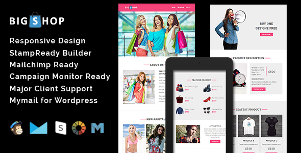 Bigshop Responsive Email Template Stamp Ready Builder