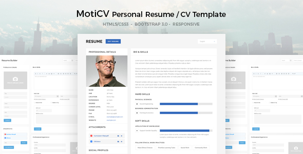 MotiCV - Resume / CV HTML5 Template by DirectoryThemes ThemeForest - bootstrap resume template