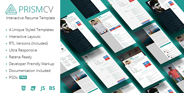 PrismCV - Stylish  Interactive Resume / CV Template by UmairRazzaq