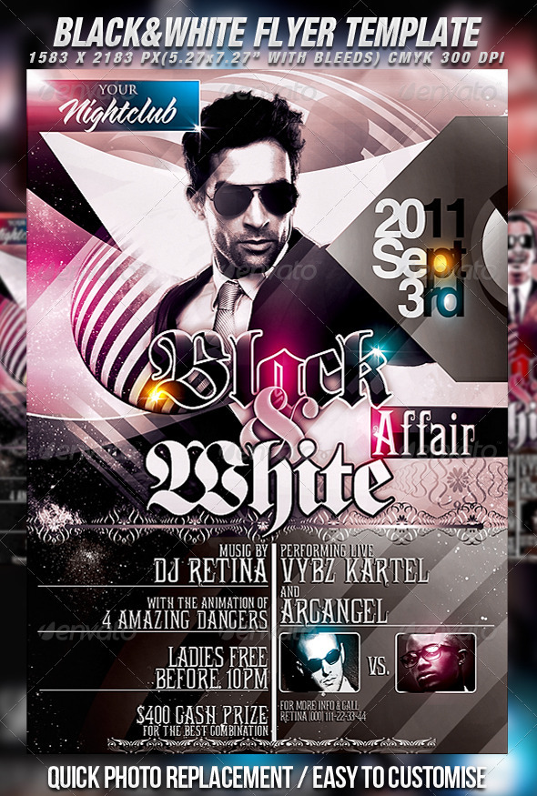 Black \ White Flyer Template by Mexelina GraphicRiver - black and white flyer template