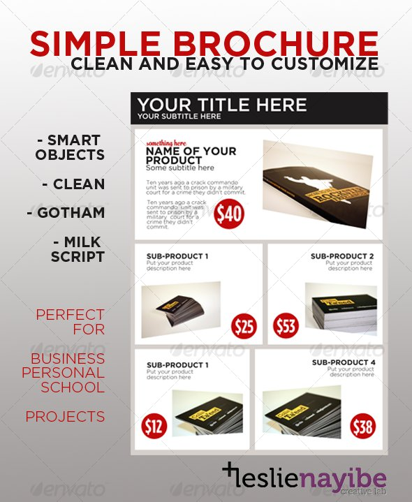 Simple Brochure by leslienayibe GraphicRiver - simple brochure templates free