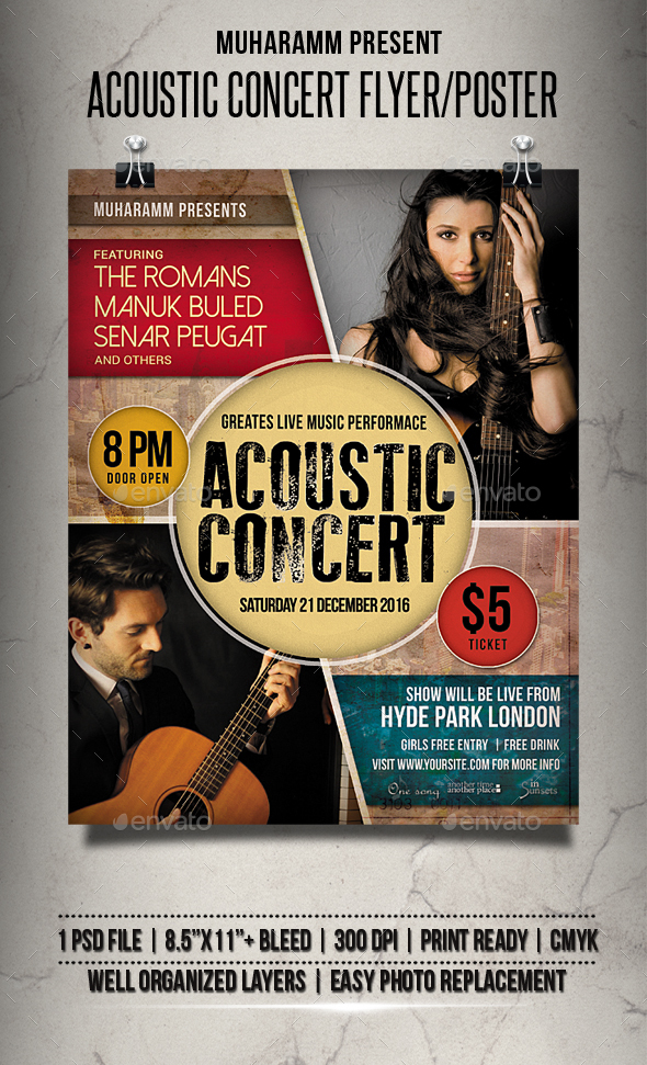 Acoustic Concert Flyer / Poster by muharamm GraphicRiver